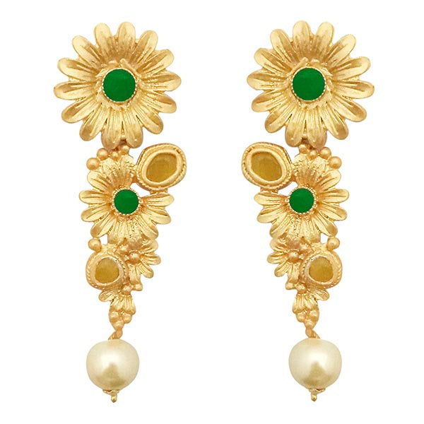 Kriaa Green Pota Stone Gold Plated Floral Pearl Dangler Earrings