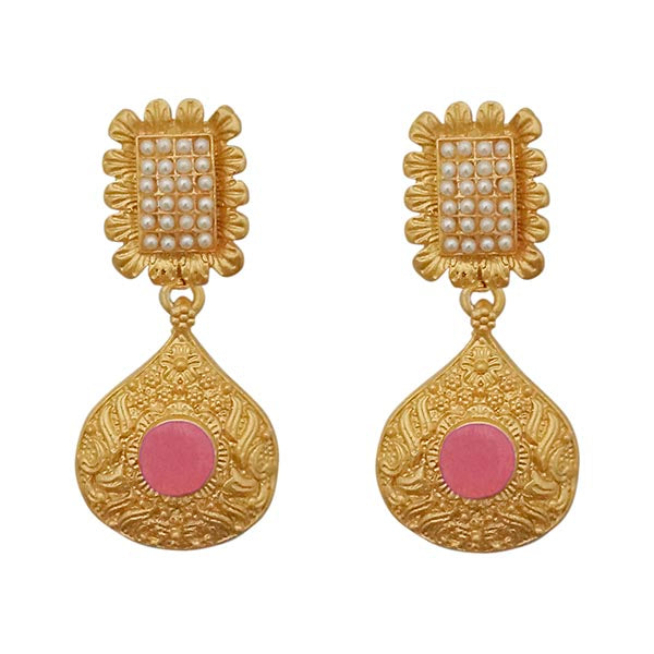 Kriaa Pink Pota Stone Gold Plated Pearl Dangler Earrings
