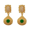 Kriaa Green Pota Stone Gold Plated Pearl Dangler Earrings