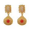 Kriaa Red Pota Stone Gold Plated Pearl Dangler Earrings