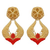 Kriaa Red Pota Stone Gold Plated Dangler Earrings