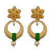 Kriaa Green Austrian Stone Gold Plated Pearl Drop Dangler Earrings