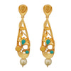 Kriaa Blue Austrian Stone Pearl Drop Gold Plated Dangler Earrings