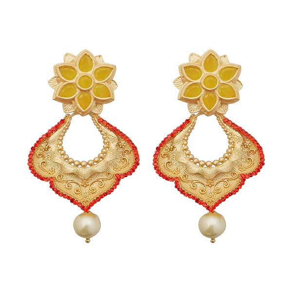 Kriaa Red Austrian Stone Pearl Drop Gold Plated Dangler Earring