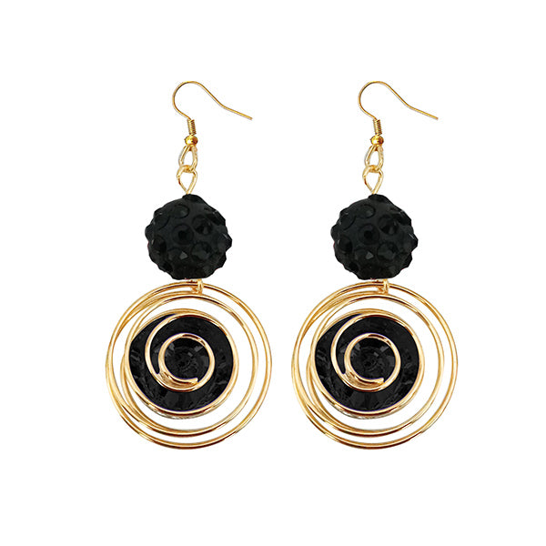 Jeweljunk Black Austrian Stone Gold Plated Dangler Earrings