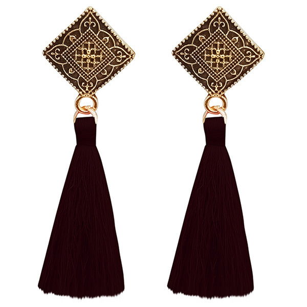 Jeweljunk Brown Thread Antique Gold Plated Tassel Earrings