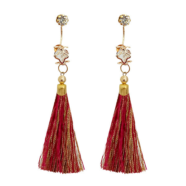 Jeweljunk Multi Thread Austrian Stone Tassel Earrings