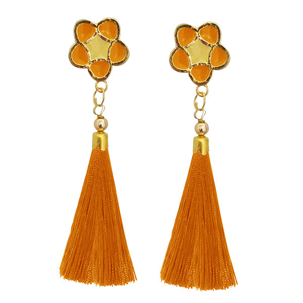 Jeweljunk Orange Thread Gold Plated Tassel Earrings