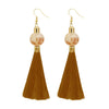 Jeweljunk Brown Thread Gold Plated Tassel Earrings