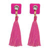 Jeweljunk Pink Thread Austrian Stone Tassel Earrings
