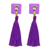 Jeweljunk Purple Thread Austrian Stone Tassel Earrings