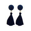 Jeweljunk Gold Plated Black Thread Tassel Earrings