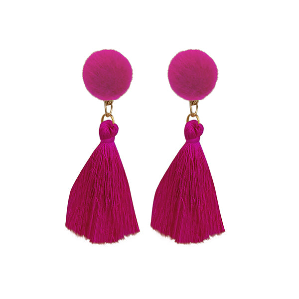 Jeweljunk Pink Thread Gold Plated Tassel Earrings