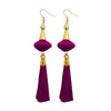 Jeweljunk Purple Thread Gold Plated Tassel Earrings