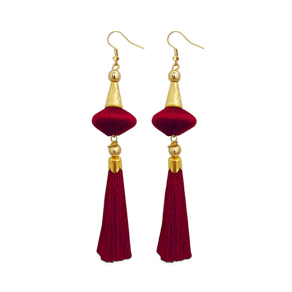 Jeweljunk Maroon Thread Gold Plated Tassel Earrings