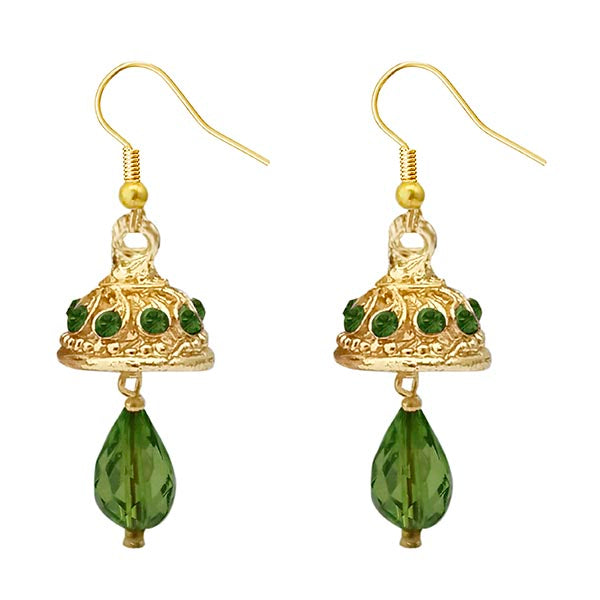 Kriaa Austrian Stone Green Gold Plated Jhumki Earrings