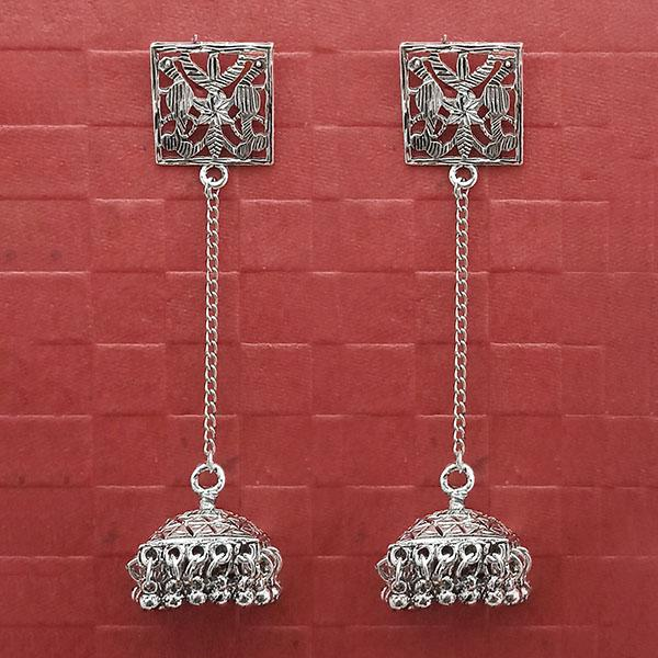 Jeweljunk Oxidised Plated Long Chain Dangler Earrings