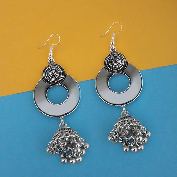 Jeweljunk Oxidised Plated Mirror Jhumki Earrings - 1314944A