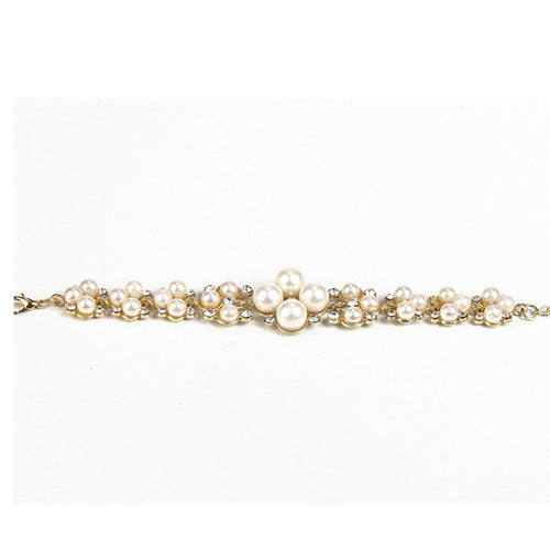 Urthn White Austrian Stone And Pearl Bracelet