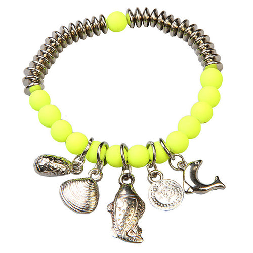 Beadside Yellow Beads Rhodium Plated Bracelet