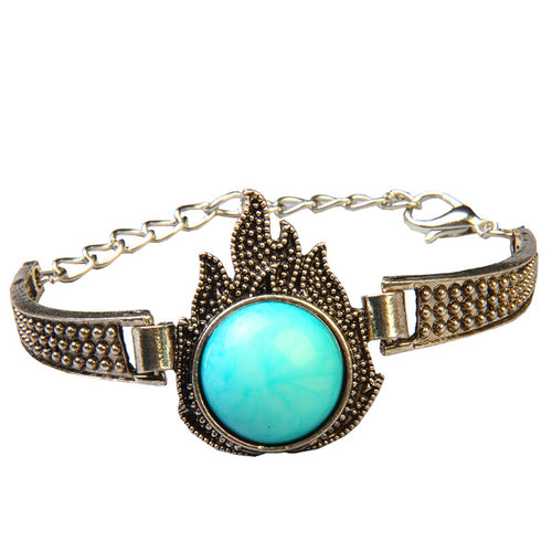 Urthn Blue Gem Stone Antique Gold Plated Bracelet