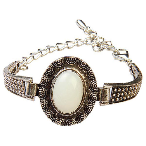Urthn White Bead Antique Gold Bracelet