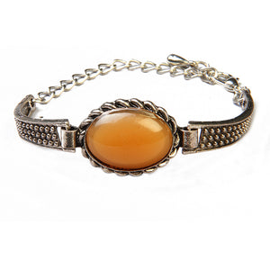 Urthn Brown Gem Stone Oxidised Plated Bracelet