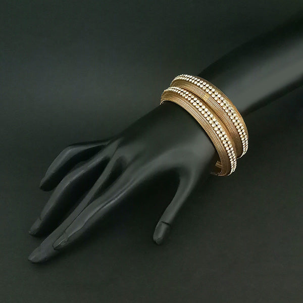 Kriaa Antique Gold Plated Austrian Stone Bangles