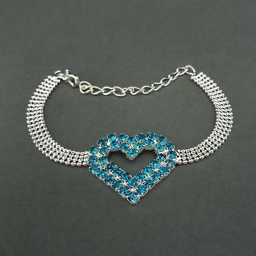 Urthn Blue Stone Heart Shaped Silver Plated Bracelet
