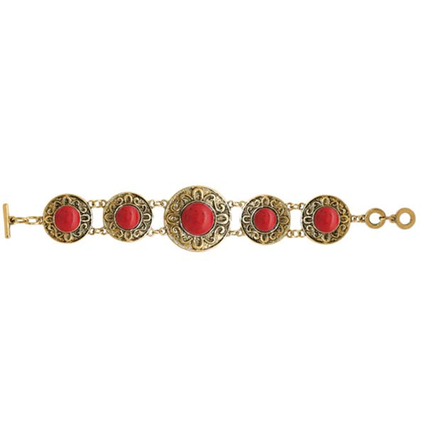 Beadside Red Beads Gold Plated Bracelet