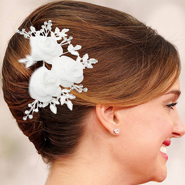 Apurva Pearls Floral Design Silver Plated Hair Brooch