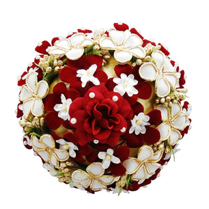 Apurva Pearls Maroon And White Floral Design Hair Brooch