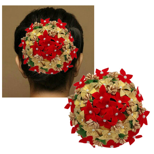 Apurva Pearls Gold And Red Floral Pearl White Hair Brooch