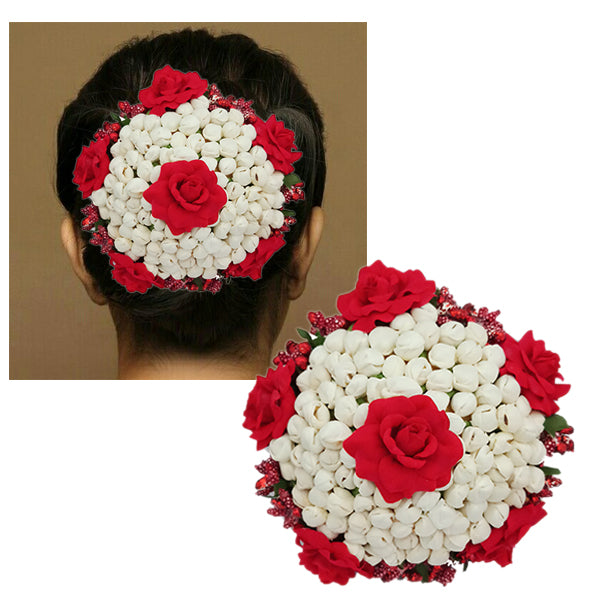 Apurva Pearls Red And White Floral Design Hair Brooch