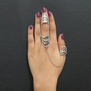 Urthn Silver Plated Austrian Stone Double Finger Ring