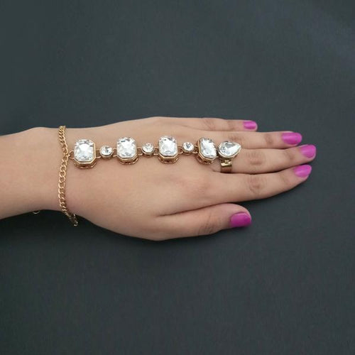 Apurva Pearls Gold Plated Glass Stone Chain Hand Harness