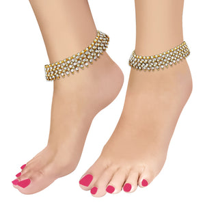Apurva Pearls Gold Plated White Pearl Austrian Stone Anklets