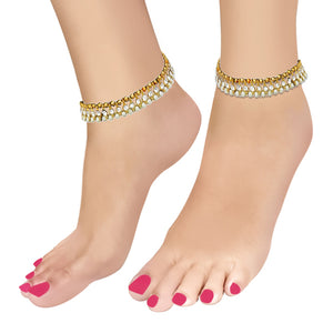 Apurva Pearls White Austrian Pearl Gold Plated Anklets