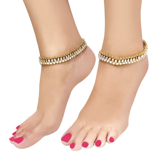 Apurva Pearls Gold Plated White Kundan Pearl Anklets