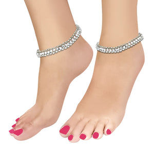 Apurva Pearls Silver Plated White Stone Anklets