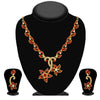 Kriaa Gold Plated Red Austrian Stone Necklace Set