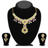 Kriaa Gold Plated Purple Kundan Necklace Set