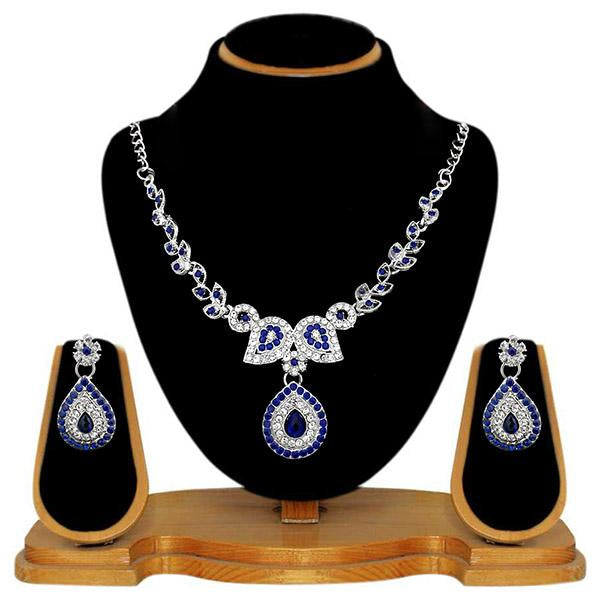 Kriaa Blue Austrian Stone Silver Plated Necklace Set