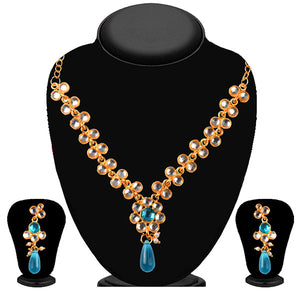 Soha Fashion Blue And White Kundan Necklace Set