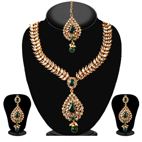 Soha Fashion White Necklace Set With Maang Tikka