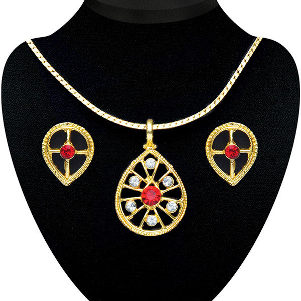 Soha Fashion Red Austrian Stone Pendant Set - 2200709