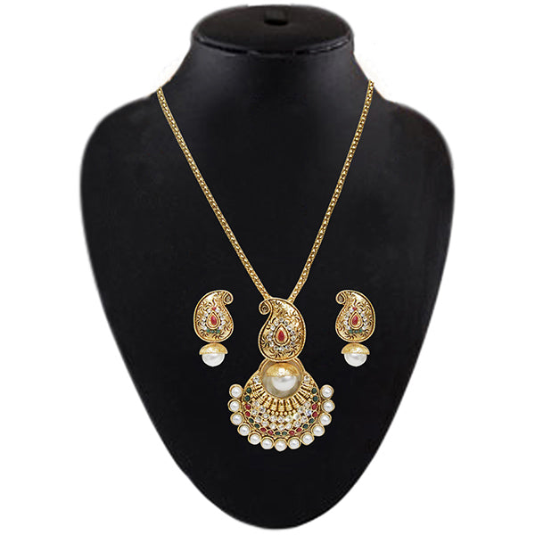 Soha Fashion Gold Plated Austrian Stone Pearl Necklace Set