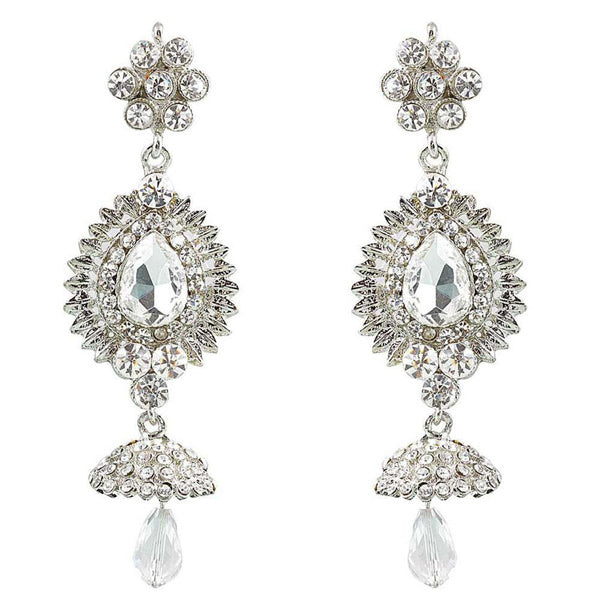 Kriaa Rhodium Plated Austrian Stone Dangler Jhumki Earrings