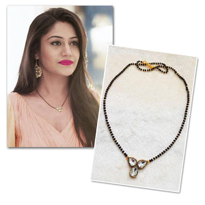 Kriaa White Glass Stone Gold Plated Mangalsutra