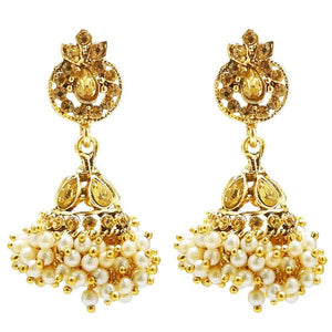 Kriaa Stone Gold Plated Pearl Jhumki Earrings